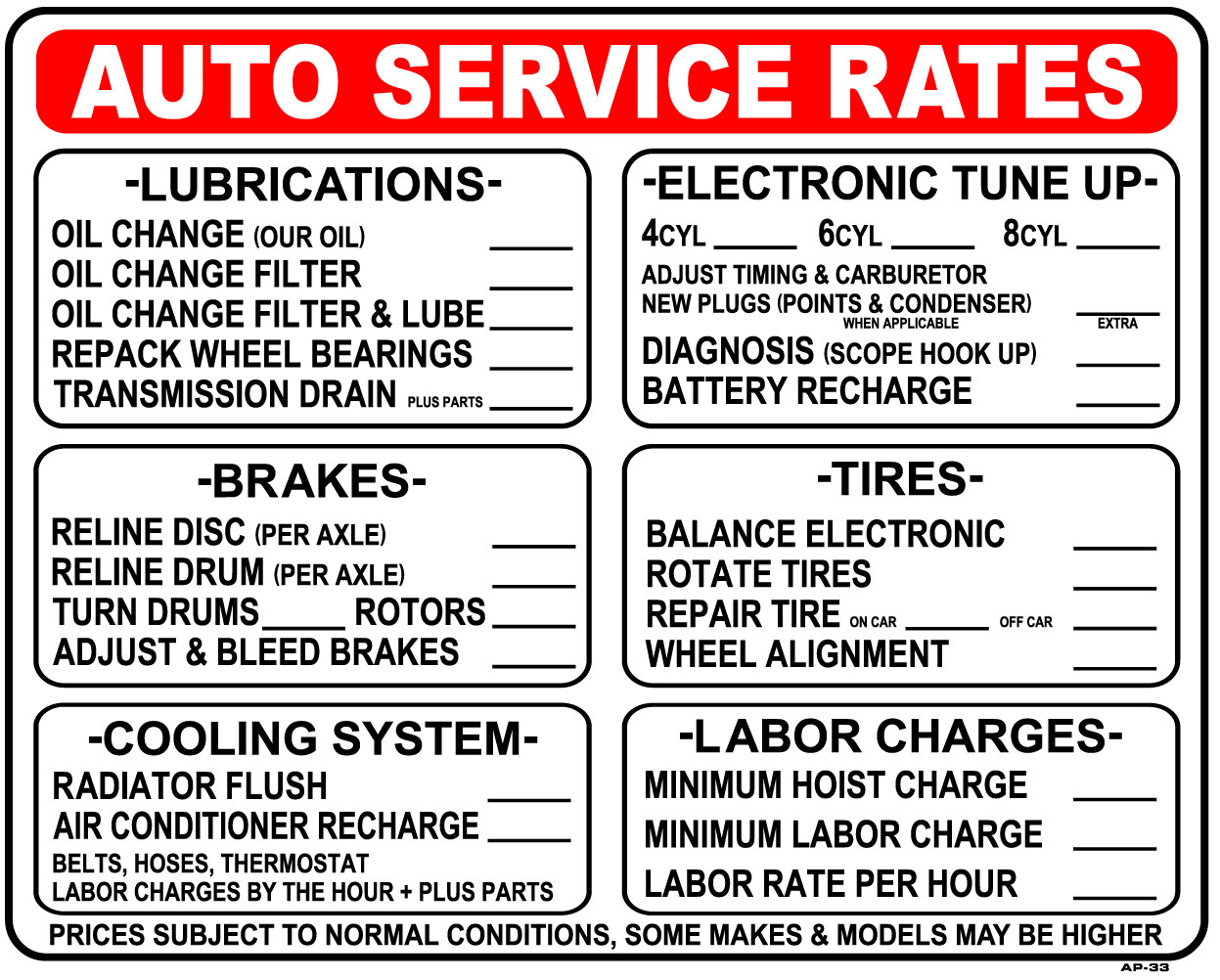 Automotive Repair Signs : Sign auto service rates in emissions depot