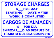 "Sign - Storage Charges $_____ Per Day (Bilingual) (14in x 20"")"