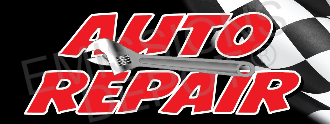 Auto Repair With Flag Vinyl Banner