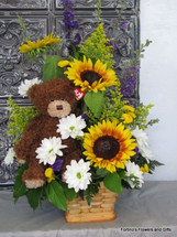 Teddy and Sunflowers