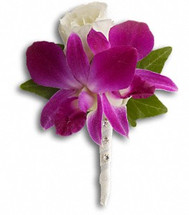 Orchid boutonniere with wrapped stem