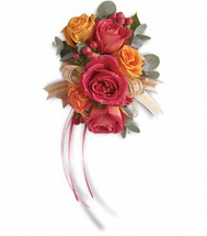 Hot pink and orange corsage
