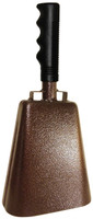 "- 11"" from bottom of bell to top of welded handle - 4.75"" wide at the bottom of the cowbell - 3.00"" deep at the bottom of the cowbell - 5.00"" handle length - Vinyl grip - Durable textured powder coated paint"