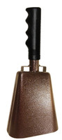 "- 10"" from bottom of bell to top of welded handle - 4.25"" wide at the bottom of the cowbell - 2.50"" deep at the bottom of the cowbell - 5.00"" handle length - Vinyl grip - Durable powder coated textured paint"