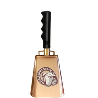 "Copper-plated cowbell with Mississippi State ""Bulldog Face"" printed on one side."