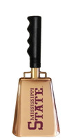 "10"" Copper-plated cowbell with the ""1985 baseball style Mississippi State"" printed on one side."