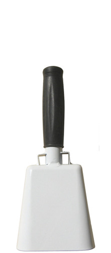 "- 8.5"" from bottom of bell to top of welded handle - 3.5"" wide at the bottom of the cowbell - 2.00"" deep at the bottom of the cowbell - 4.5"" handle length - Vinyl grip - Durable powder coated white paint"