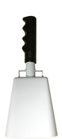 """- 10"""" from bottom of bell to top of welded handle - 4.25"""" wide at the bottom of the cowbell - 2.50"""" deep at the bottom of the cowbell - 5.00"""" handle length - Vinyl grip - Durable powder coated white paint"""