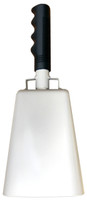 """- 11"""" from bottom of bell to top of welded handle - 4.75"""" wide at the bottom of the cowbell - 3.00"""" deep at the bottom of the cowbell - 5.00"""" handle length - Vinyl grip - Durable powder coated white paint"""