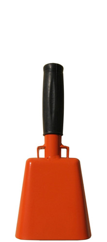 "- 8.5"" from bottom of bell to top of welded handle - 3.5"" wide at the bottom of the cowbell - 2.00"" deep at the bottom of the cowbell - 4.5"" handle length - Vinyl grip - Durable powder coated bright orange paint"