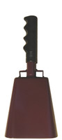 """- 10"""" from bottom of bell to top of welded handle - 4.25"""" wide at the bottom of the cowbell - 2.50"""" deep at the bottom of the cowbell - 5.00"""" handle length - Vinyl grip - Durable powder coated maroon paint"""