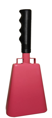 "- 10"" from bottom of bell to top of welded handle - 4.25"" wide at the bottom of the cowbell - 2.50"" deep at the bottom of the cowbell - 5.00"" handle length - Vinyl grip - Durable powder coated pink paint"