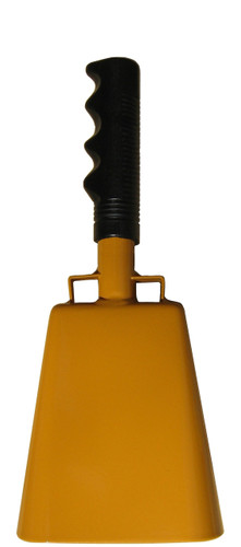 """- 10"""" from bottom of bell to top of welded handle - 4.25"""" wide at the bottom of the cowbell - 2.50"""" deep at the bottom of the cowbell - 5.00"""" handle length - Vinyl grip - Durable powder coated golden yellow paint"""