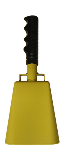 "- 10"" from bottom of bell to top of welded handle - 4.25"" wide at the bottom of the cowbell - 2.50"" deep at the bottom of the cowbell - 5.00"" handle length - Vinyl grip - Durable powder coated yellow paint"