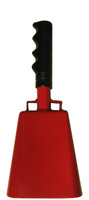 """- 10"""" from bottom of bell to top of welded handle - 4.25"""" wide at the bottom of the cowbell - 2.50"""" deep at the bottom of the cowbell - 5.00"""" handle length - Vinyl grip - Durable powder coated red paint"""