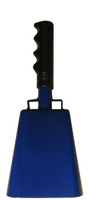 "- 10"" from bottom of bell to top of welded handle - 4.25"" wide at the bottom of the cowbell - 2.50"" deep at the bottom of the cowbell - 5.00"" handle length - Vinyl grip - Durable powder coated royal blue paint"