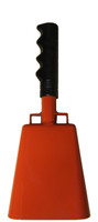 "- 10"" from bottom of bell to top of welded handle - 4.25"" wide at the bottom of the cowbell - 2.50"" deep at the bottom of the cowbell - 5.00"" handle length - Vinyl grip - Durable powder coated bright orange paint"