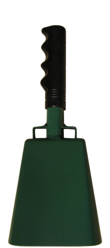 "- 10"" from bottom of bell to top of welded handle - 4.25"" wide at the bottom of the cowbell - 2.50"" deep at the bottom of the cowbell - 5.00"" handle length - Vinyl grip - Durable powder coated kelly green paint"