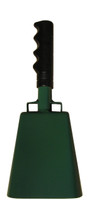 """- 10"""" from bottom of bell to top of welded handle - 4.25"""" wide at the bottom of the cowbell - 2.50"""" deep at the bottom of the cowbell - 5.00"""" handle length - Vinyl grip - Durable powder coated kelly green paint"""
