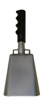 """- 10"""" from bottom of bell to top of welded handle - 4.25"""" wide at the bottom of the cowbell - 2.50"""" deep at the bottom of the cowbell - 5.00"""" handle length - Vinyl grip"""