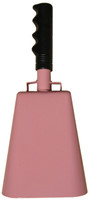 "- 11"" from bottom of bell to top of welded handle - 4.75"" wide at the bottom of the cowbell - 3.00"" deep at the bottom of the cowbell - 5.00"" handle length - Vinyl grip - Durable powder coated pink paint"