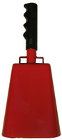 "- 11"" from bottom of bell to top of welded handle - 4.75"" wide at the bottom of the cowbell - 3.00"" deep at the bottom of the cowbell - 5.00"" handle length - Vinyl grip - Durable powder coated red paint"