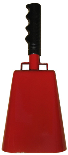 """- 11"""" from bottom of bell to top of welded handle - 4.75"""" wide at the bottom of the cowbell - 3.00"""" deep at the bottom of the cowbell - 5.00"""" handle length - Vinyl grip - Durable powder coated red paint"""