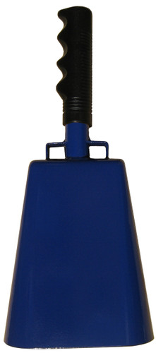 """- 11"""" from bottom of bell to top of welded handle - 4.75"""" wide at the bottom of the cowbell - 3.00"""" deep at the bottom of the cowbell - 5.00"""" handle length - Vinyl grip - Durable powder coated royal blue paint"""