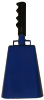 "- 11"" from bottom of bell to top of welded handle - 4.75"" wide at the bottom of the cowbell - 3.00"" deep at the bottom of the cowbell - 5.00"" handle length - Vinyl grip - Durable powder coated royal blue paint"