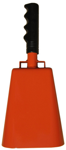 """- 11"""" from bottom of bell to top of welded handle - 4.75"""" wide at the bottom of the cowbell - 3.00"""" deep at the bottom of the cowbell - 5.00"""" handle length - Vinyl grip - Durable powder coated bright orange paint"""