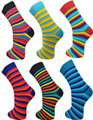 6 Pairs of Mens VIBRANT Stripes  Socks