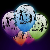 5 pack High Glow UV Neon Disco Balloons