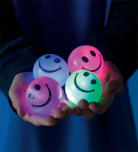 24 Squishy Flashing Smiley Face Balls