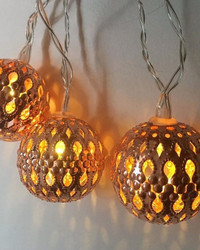 Copper Tone Mini 'Moroccan Balls' Fairy Lights