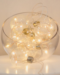 Clear Glass Spheres with Seed Lights String x 6