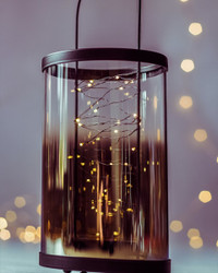 Black & Glass Hanging Lantern with Seed Lights
