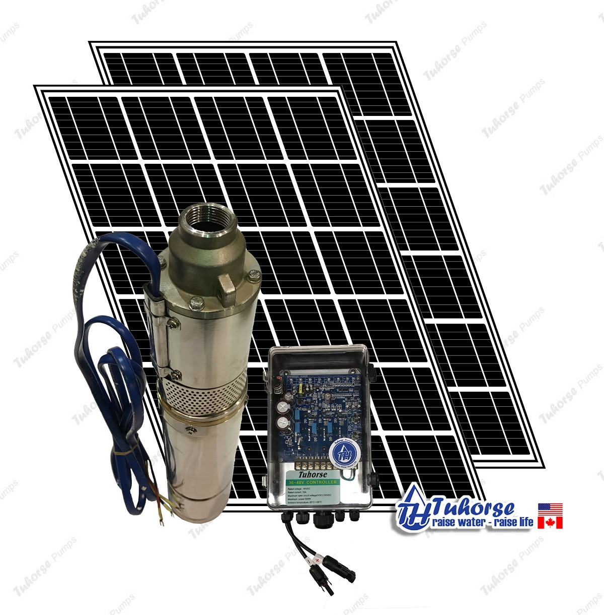 4 Solar Water Pump Kit 500w 7gpm Deep Well Tuhorse Marine Panel Wiring Submersible 390w 83 Feet Cable Complete