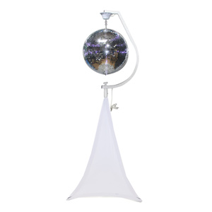 rent mirror-ball-with-stand-and-white-scrim