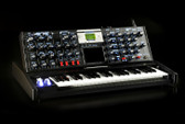 Moog Minimoog Voyager Electric Blue Edition w/ Road Case (angle view)