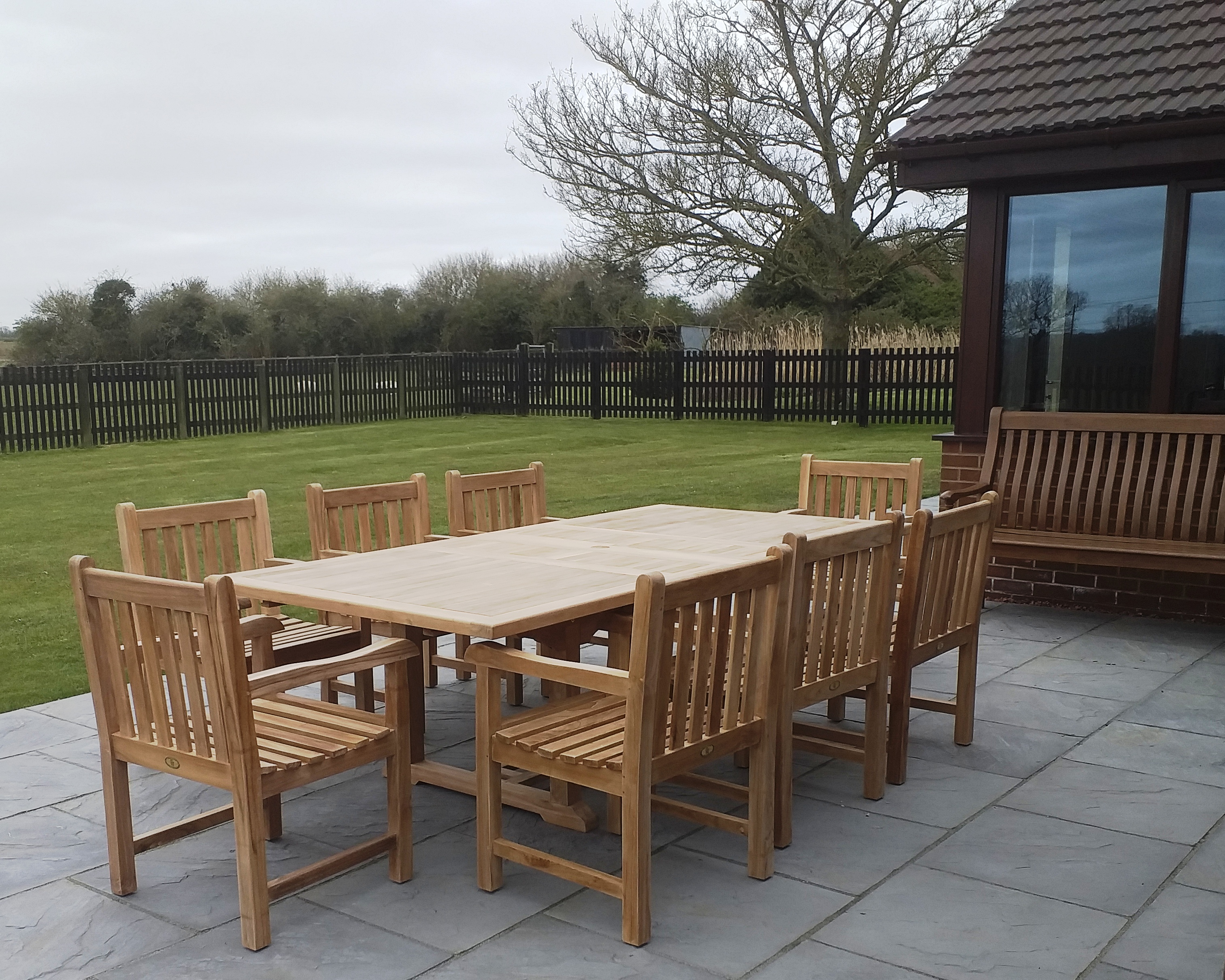 Rectangular Teak Extending Table Set with Southwold Arm Chairs