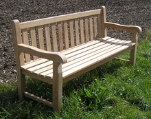 Southwold Deluxe Straight Back 6ft Teak Bench |C&T Teak | Sustainable Teak Garden Furniture |Straight top chunky bench Suffolk |Southwold  4 seater bench|180cm 7