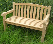 Aldeburgh Deluxe Curved Back 4ft Teak Bench |C&T Teak | Sustainable Teak Garden Furniture |Curved top chunky bench Suffolk |Aldeburgh 9