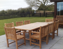 rectangular extending table with arm chairs |C&T Teak | Sustainable Teak Garden Furniture | extending