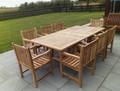 rectangular extending table with arm chairs |C&T Teak | Sustainable Teak Garden Furniture | extending