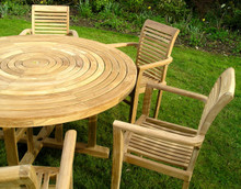 ring table with stacking chairs| C&T Teak | Sustainable Teak Garden Furniture
