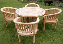 ring table with banana arm chairs