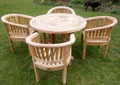 ring table with banana arm chairs |C&T Teak | Sustainable Teak Garden Furniture | Ring table | Suffolk