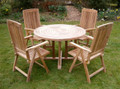 ring table with folding chairs |C&T Teak | Sustainable Teak Garden Furniture | Ring table | Suffolk