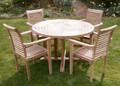 Turnworth 120cm Round Ring Teak Table Set with Lovina Stacking Chairs