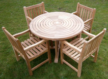 ring table with southwold chairs |C&T Teak | Sustainable Teak Garden Furniture | Ring table | Suffolk